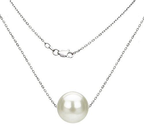 Sterling Silver Chain Necklace with 10-10.5mm White Freshwater Cultured Pearl Floating Pendant, 18