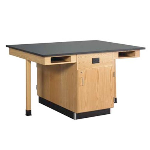 Diversified Woodcraft C2616KF UV Finish Solid Oak Wood 4 Station Service Center with Full Cupboard and Flat Epoxy Resin Flat Top, 66
