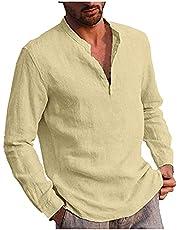 Shirt met lange mouwen voor heren, herfst en winter, vrijetijdshemd, regular fit, kraagloos shirt met halve knoopsluiting, katoen, linnen hemd, effen, eenvoudig, casual T-shirt