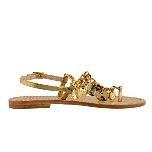 Emanuela Caruso Capri Sandalias Planas Doradas Para Mujer Zapatos Dorados