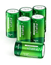Fufly Rechargeable C Batteries 5000mAh - 1.2V Ni-MH High Capacity High Rated C Size Battery C Cell Rechargeable Batteries With Storage Box (6 Pack)
