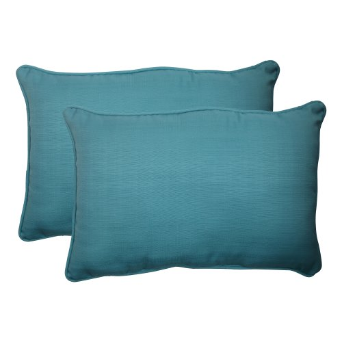 (Pillow Perfect Outdoor Forsyth Corded Oversized Rectangular Throw Pillow, Turquoise, Set of 2)