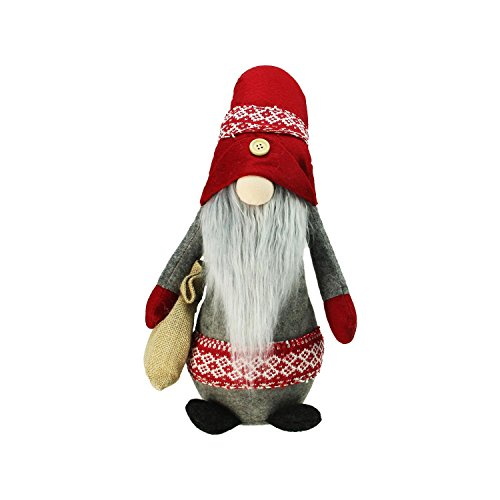 (Northlight Plush Nordic Santa Christmas Gnome with Burlap Sack Tabletop Figure 29.5