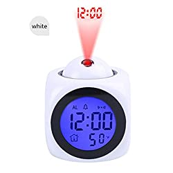 ACHZX Projection Alarm Clock (Digital LCD Voice Talking Function, LED Wall/Ceiling Projection, Alarm/Snooze/Temperature Display, 12hr/24hr, Bedside Alarm Clock) (White)
