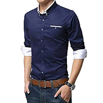 38998869c IndoPrimo Men's Cotton Casual Shirt for Men Full Sleeves (Navy Blue, Small)