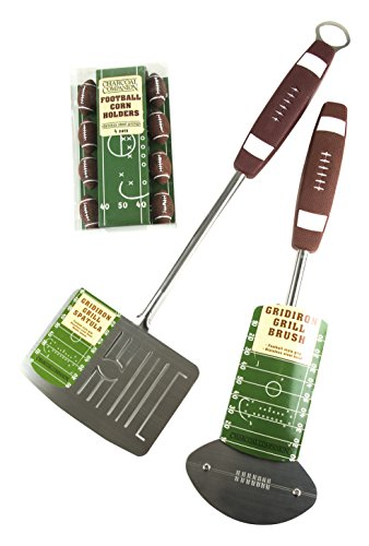 Charcoal Companion CC6495 Football Barbecue Grill Brush, Grill Spatula with Bottle Opener & Corn Holders Set - BBQ Tools (Big Spatula Bottle Opener)