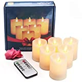 LED Moving Wick Pillar Candles, 6 PCS Dimmable Flameless Battery Operated Electric Candle