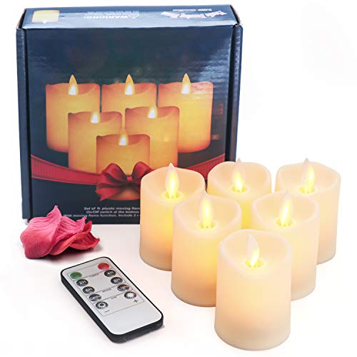 LED Moving Wick Pillar Candles, 6 PCS Dimmable Flameless Battery Operated Electric Candle with Flickering Function and Timer Remote Control for Home Decoration