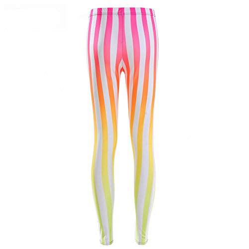 [Neon Nation Multi Color Circus Striped Style Gradient Beetlejuice Costume Leggings (XL)] (Striped Leggings Costumes)