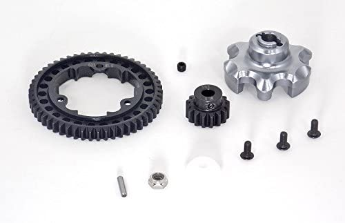Traxxas X-Maxx 4X4 Upgrade Parts Aluminum Gear Adapter + Steel Spur Gear 53T + Motor Gear 16T (for X-Maxx 6S Only) - 1 Set Gray Silver