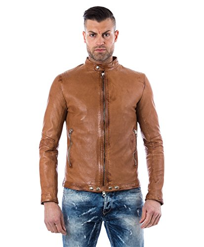Tan washed nappa lamb leather jacket vintage aspect - 48 / S, Tan