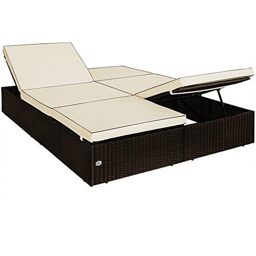 Poly Rattan Double Sun Lounger Garden Patio Day Bed Wicker Luxury Sun Bed Furniture Sofa Recliner Waterproof Terrace Sunbed