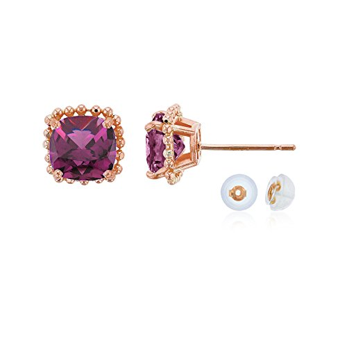 10K Rose Gold 6x6mm Cushion Cut Rhodolite Bead Frame Stud Earring with Silicone Back