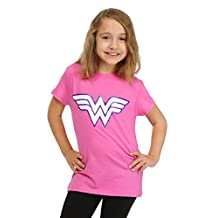 Bioworld girls Wonder Woman Girls Pink Glitter Logo T-Shirt