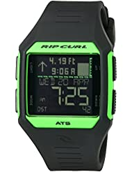 Rip Curl Mens Rifles Midsize Tide Quartz Plastic and Polyurethane Sport Watch, Color:Black (Model: A1124-FGR)