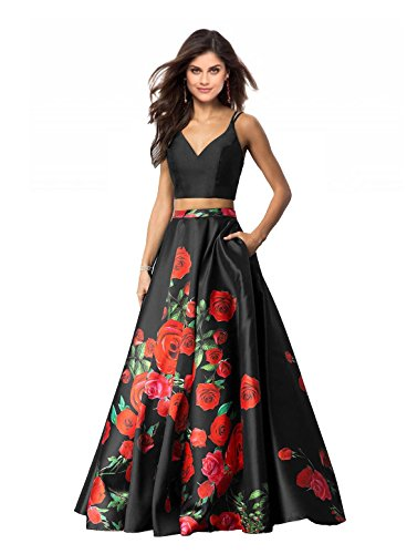 Satin Floral Suit Skirt (Lily Wedding Womens 2 Piece Floral Printed Prom Dresses 2018 Long Formal Evening Ball Gowns with Pockets GD32 Size 16 Black)