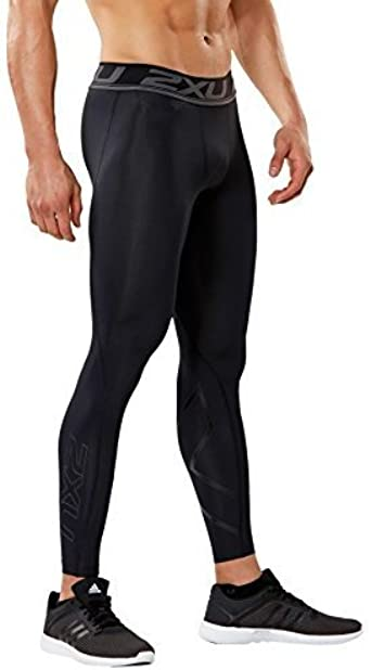 2XU Accelerate Print Mens Compression Long Tights Black Gym Running Sports