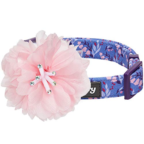 Blueberry Pet 2019 New 4 Patterns Floral Power Lily of The Valley Designer Dark Purple Dog Collar with Detachable Pink Peony, Medium, Neck 14.5