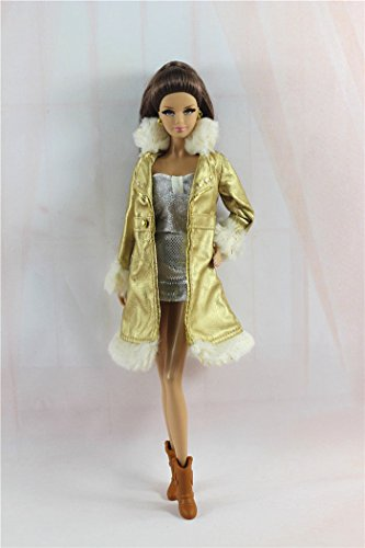 Homemade Pirate Costumes For Little Girls (Phantomx 5in1 Fashion Golden Fur Coat,Vest,Skirt,Boots,Bag Outfit For Barbie Doll)
