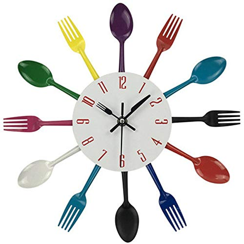 Spoon Large Wall Clock Multicolor Home Decoration Cutlery Kitchen Utensil Spoon Fork Wall Clock,Multicolor,United States
