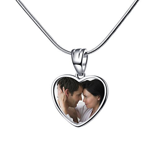 e Bracelet Pendant 925 Sterling Silver Customized Photo Necklace Charms Heart Shape ()