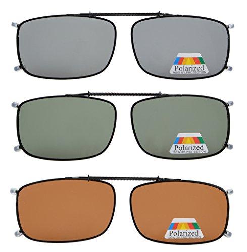Eyekepper Grey/Brown/G15 Lens 3-pack Clip-on Polarized Sunglasses 2 1/16