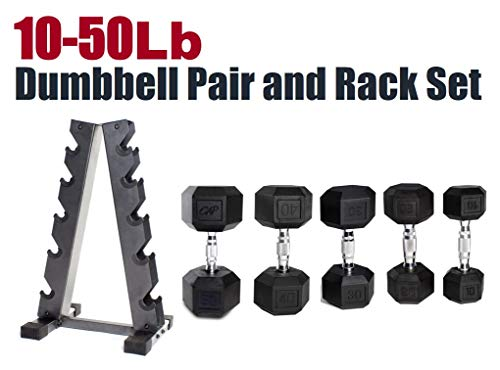 - CAP Barbell SDRS-300R-12G Rubber Hex Dumbbell Weight Set, 300 lb