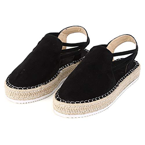 Respctful✿Womens Closed Toe Elastic Flat Sandal Summer Espadrille Ankle Strap Flatform Shoes Casual Black