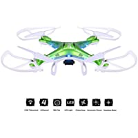 Megadream JJRC H5P Gyro 2.4 Telecontrol 3D Roll 6 Axis Grop RTF Drone LED Lights Headless Mode 2.0MP HD Camera 4-Channel 360 Flip Automatic Return 1100mAh RC Quadcopter