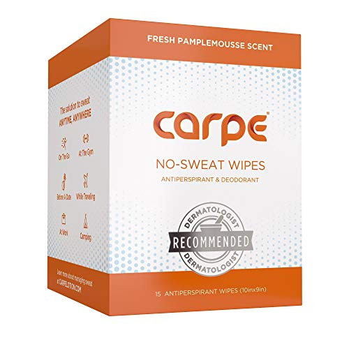 - Carpe On-the-Go Antiperspirant Body Wipes for Deodorizing, Cleansing, and Sweat Blocking When You're On the Move, 15 residue free, individually wrapped wipes, light and refreshing scent