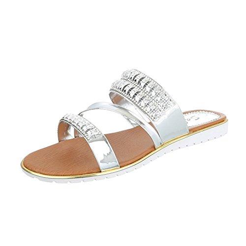 Ital-Design Pantoletten Damenschuhe Jazz & Modern Leichte Sandalen/Sandaletten Silber