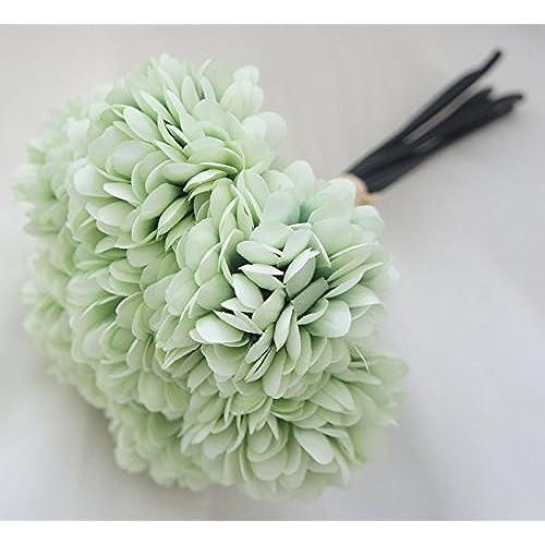 Mint green flowers amazon lily garden silk chrysanthemum ball 7 stems flower bouquet mint mightylinksfo Images