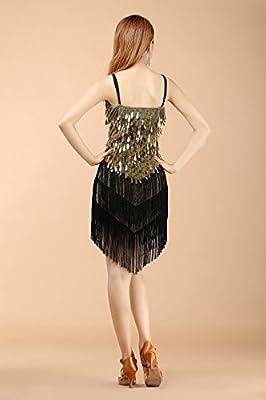 BELLYQUEEN Women Latin Dance Dress Sexy Halter Sequins Tassel 1920s Flapper Dress