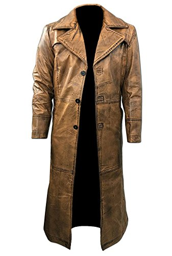 Brown Trench Coat, Distressed Leather, Vintage Style, Below Knee Long Coat, Original Lambskin Leather (L, Brown distressed) (Satin Jacket Trench)