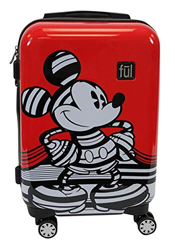 Ful Disney Striped Mickey Mouse Hard Sided Luggage, Red 21 inch]()