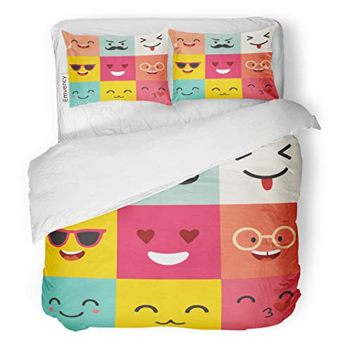 Semtomn Decor Duvet Cover Set Twin Size Happy Emoticons Pattern Positive Moji Cute Colorfull Big Flat 3 Piece Brushed Microfiber Fabric Print Bedding Set Cover ()