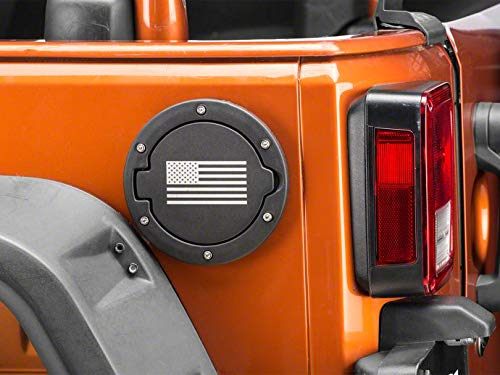 RedRock 4x4 Old Glory Fuel Door Cover - Textured Black - for Jeep Wrangler JK 2007-2018