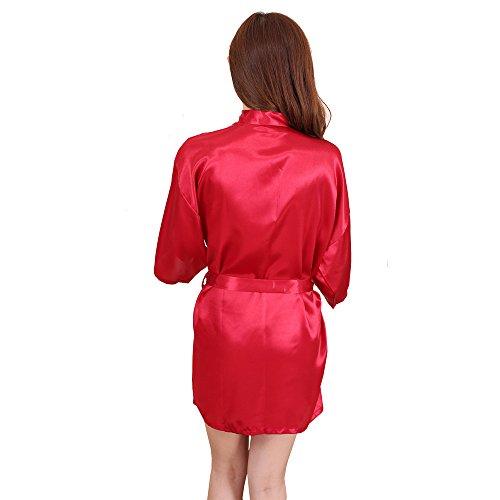 Surenow Pijama Albornoces Vestido de Baño Kimono para Mujer Rojo