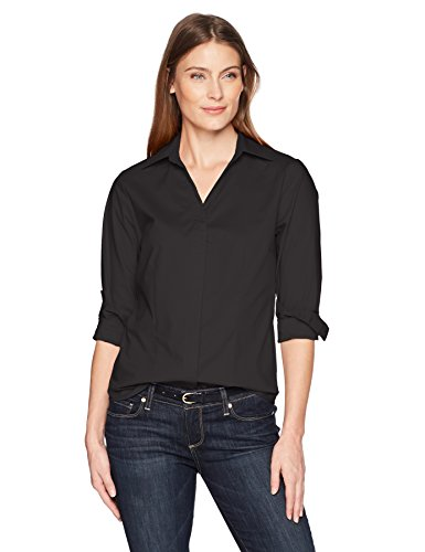 (Riders by Lee Indigo Women's Long Sleeve Button Front Easy Care Woven Shirt, Black soot, M)