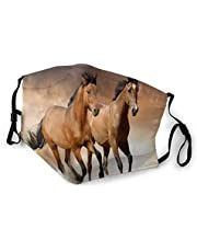 Ugiuerd Face Scarf,Two Horses Face Mask Washable Reusable Face Bandanas Balaclava For Men Women With 2 Pcs Filters
