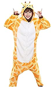 Adrinfly One-piece Hooded Pajamas Unisex Costume Adult Animal Onesie Giraffe Cosplay