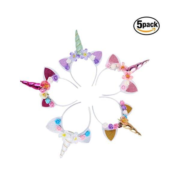 5PC Glitter Unicorn Horn Headband, Flower Ears Unicorn Headbands for Girls, Birthday Party Supplies, Favors and… 3