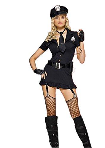 JJ-GOGO Sexy Police Costume - Officer Costume Fancy Short Sleeve Dirty Cop Dress Hat Belt -