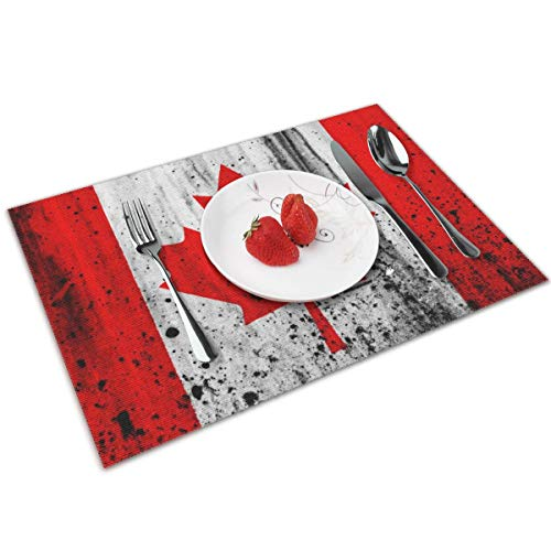MNBVC Splash Paint Canadian Flag Placemats Set of 4 for Dining Table Washable Woven Vinyl Placemat Non-Slip Heat Resistant Kitchen Table Mats Easy to -