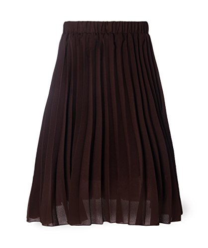 L Mode plisss Taille fminine Florale Midi Haute Jupe Marron Jupes uideazone vas S 0ZHEPP