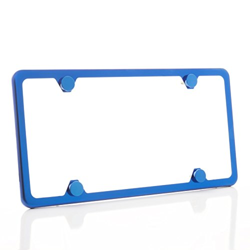 - KA LEGEND One Blue Chrome T304 Stainless Steel Four Hole Slim License Plate Frame Holder Front Or Rear Bracket with Aluminum Screw Cap