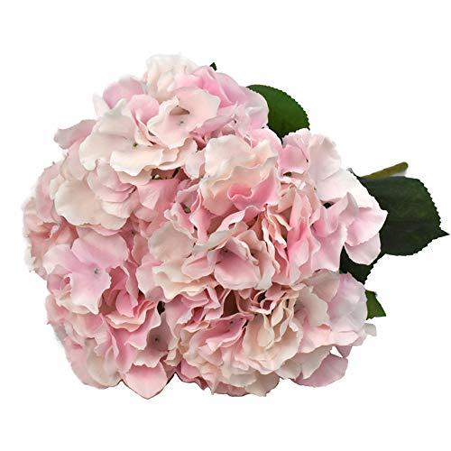 Lacheln Artificial Hydrangea Flowers 5 Big Heads Silk Bunch Bouquet Home Wedding Party Decor (Pink)