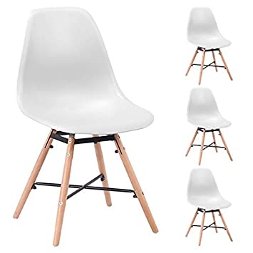 Générique - Juego de 4 sillas Scandinaves de Comedor Blancas Malmo ...