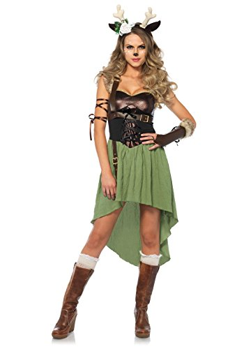 Leg Avenue Women's Rebel Dark Forest Fawn Deer Costume, Olive/Black -