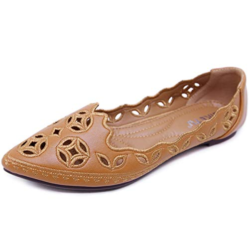 Hee grand Women's Loafers Bohemia Slip-on Hollow Flat Shoes Brown 10